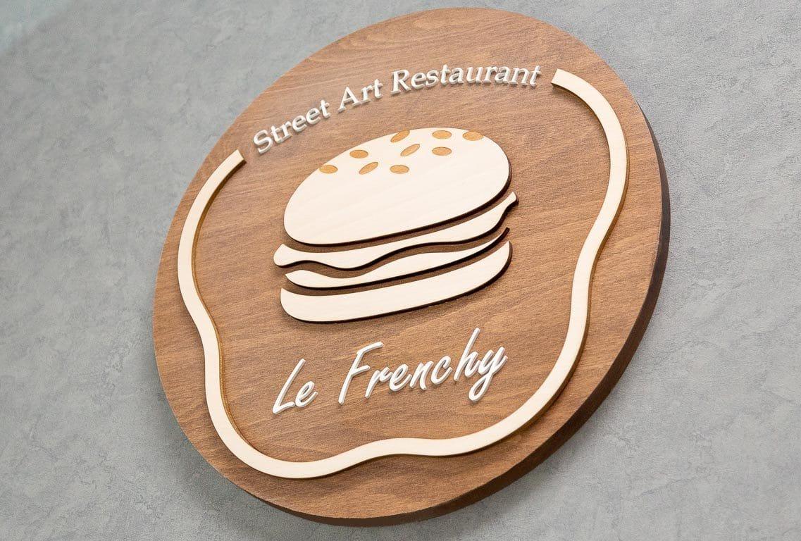 logo signaletique enseigne bois 3d magasin bureau restaurant 1