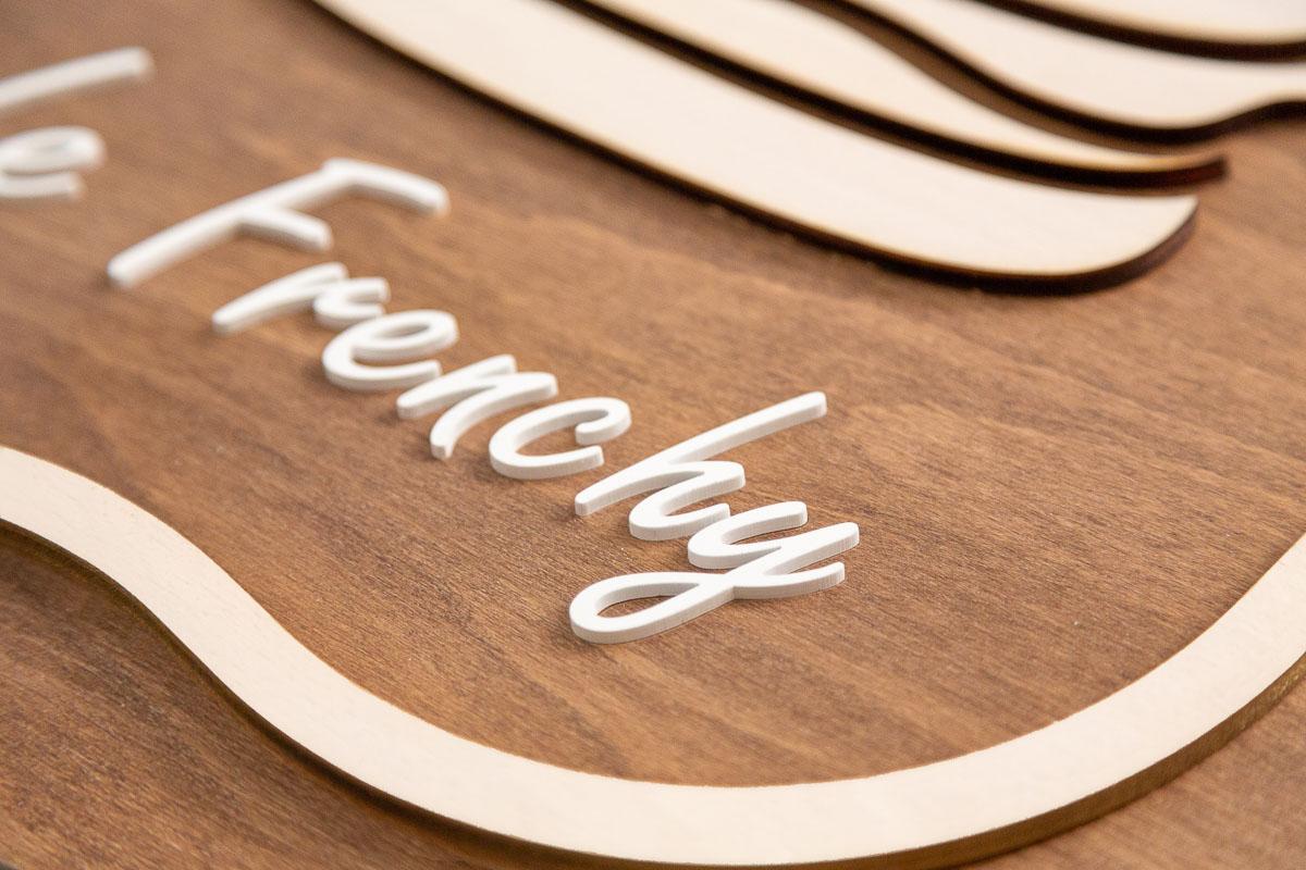 logo signaletique enseigne bois 3d magasin bureau restaurant 3